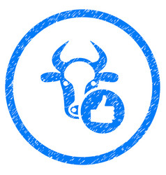 Cow thumb up rounded grainy icon vector