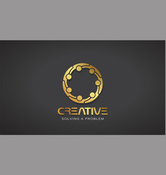 Creative people gold logo design vector