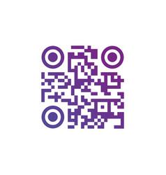 creative qr code sign round icon scan code symbol vector image