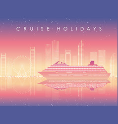 cruise liner and cityscape at dusk with text space vector image