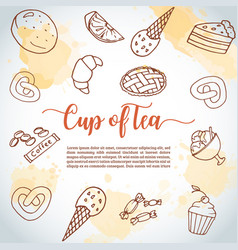 cup of tea background sweet pastry cupcakes vector image