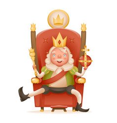 Cute cheerful king ruler on throne crown on head vector
