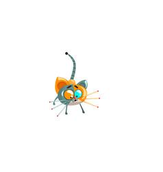 Cute robotic kitten funny robot animal vector