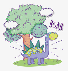 Cute stegosaurus animal with tree and clouds vector