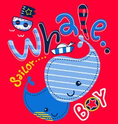 Cute whales with sailor theme on sea vector