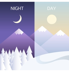 Day and night in winter flat or banners vector