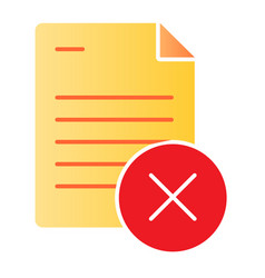 Document ban flat icon paper failure color icons vector
