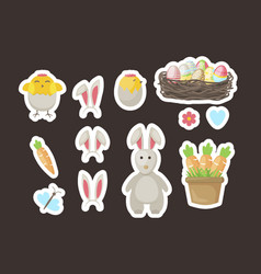 Easter stickers gift tags labels with cute vector