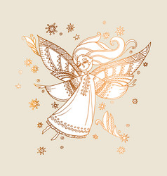 elegant rose gold decorative girl angel vector image