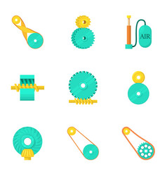 Engine parts icons set cartoon style vector