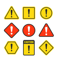 Exclamation mark beware icons attention and vector