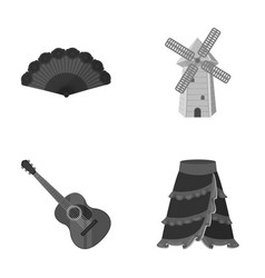 Fan spanish mill guitar skirt for national vector