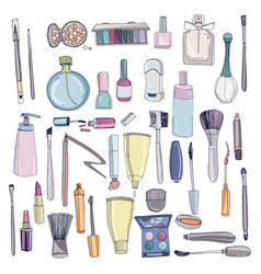 Fashion cosmetics set with make up artist objects vector