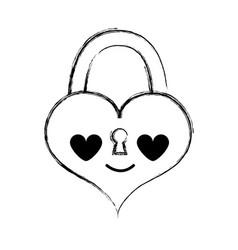 Figure heart padlock in love kawaii personage vector