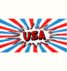 flag banner of usa in the style of pop art comic vector image