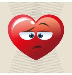 Flat of cartoon face design heart vector image