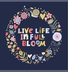 Floral lettering card in a flat style vector