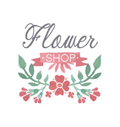 flower shop colorful logo badge in vintage style vector image