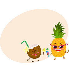funny pineapple and coconut characters drinking vector image