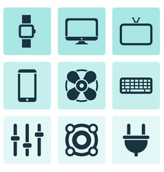 Gadget icons set with tv loudspeaker cable and vector