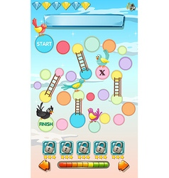 Game template with birds in the sky vector