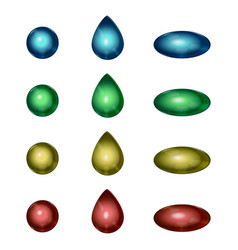Glass capsule drop and ball set vector