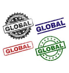 grunge textured global stamp seals vector image