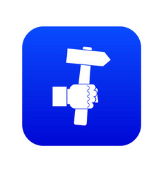 Hand hoding hammer with tool icon digital blue vector