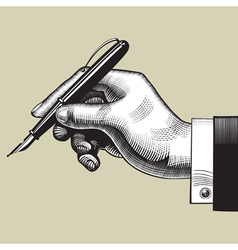 Hand with a pen vector