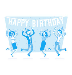 happy birthday party in office vector image