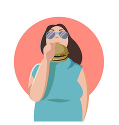 Happy fat woman eating a big tasty hamburger flat vector