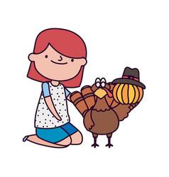 Happy thanksgiving day girl turkey pumpkin with vector