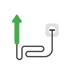 Icon concept of arrow moving down with cable and vector