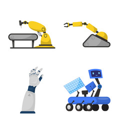 isolated object of robot and factory icon set of vector image