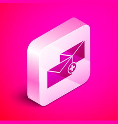 Isometric envelope icon isolated on pink vector