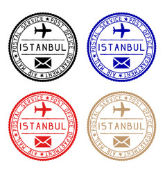 istanbul mail stamps colored set round impress vector image