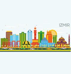 Izmir turkey city skyline with color buildings vector