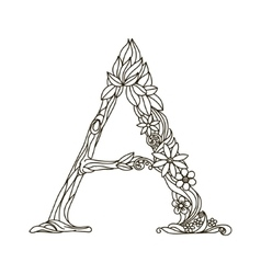 Letter A coloring book for adults vector image vector image