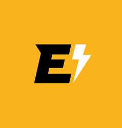 letter e lightning logo icon design template vector image