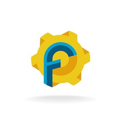Letter F with fan or tech sun symbol logo vector