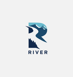 Letter r for river logo icon template vector