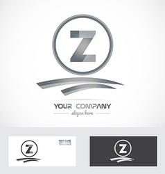 Letter Z silver grey logo icon vector