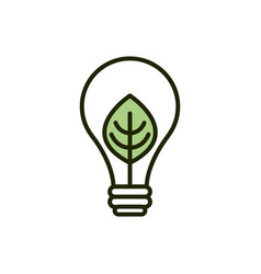 Light bulb leaf environment ecology line and fill vector