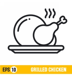 line icon grilled chicken vector image