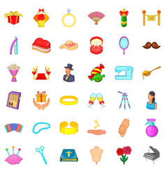 Marriage of convenience icons set cartoon style vector