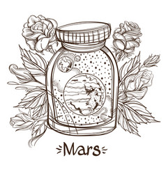mars in a glass jar the planet of the solar vector image