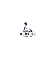 Minimalist goose bird line in water logo design vector