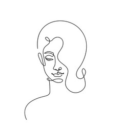modern fashion linear female face profile vector image