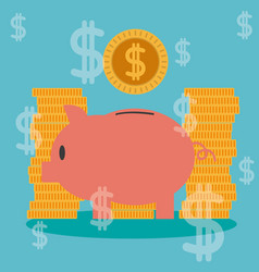 Money savings on piggy vector