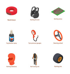 Motorcycle suit icons set isometric style vector